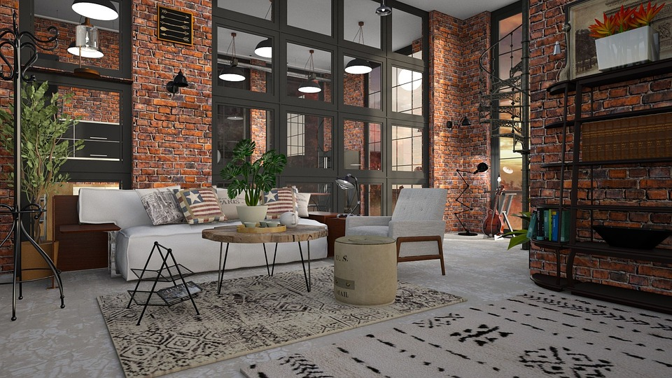 A modern loft with brick walls.