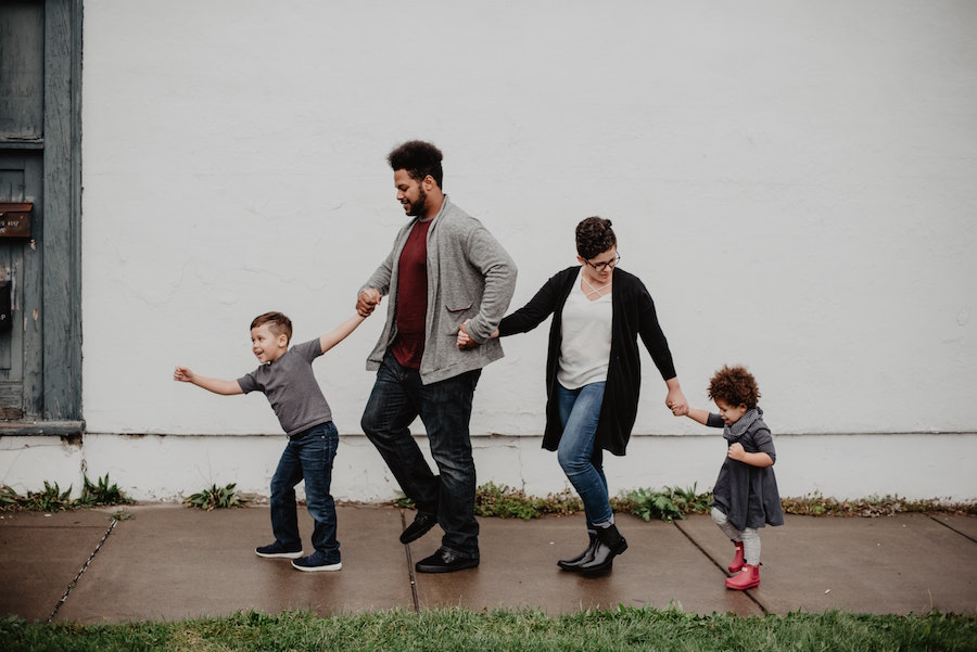 A family going out.