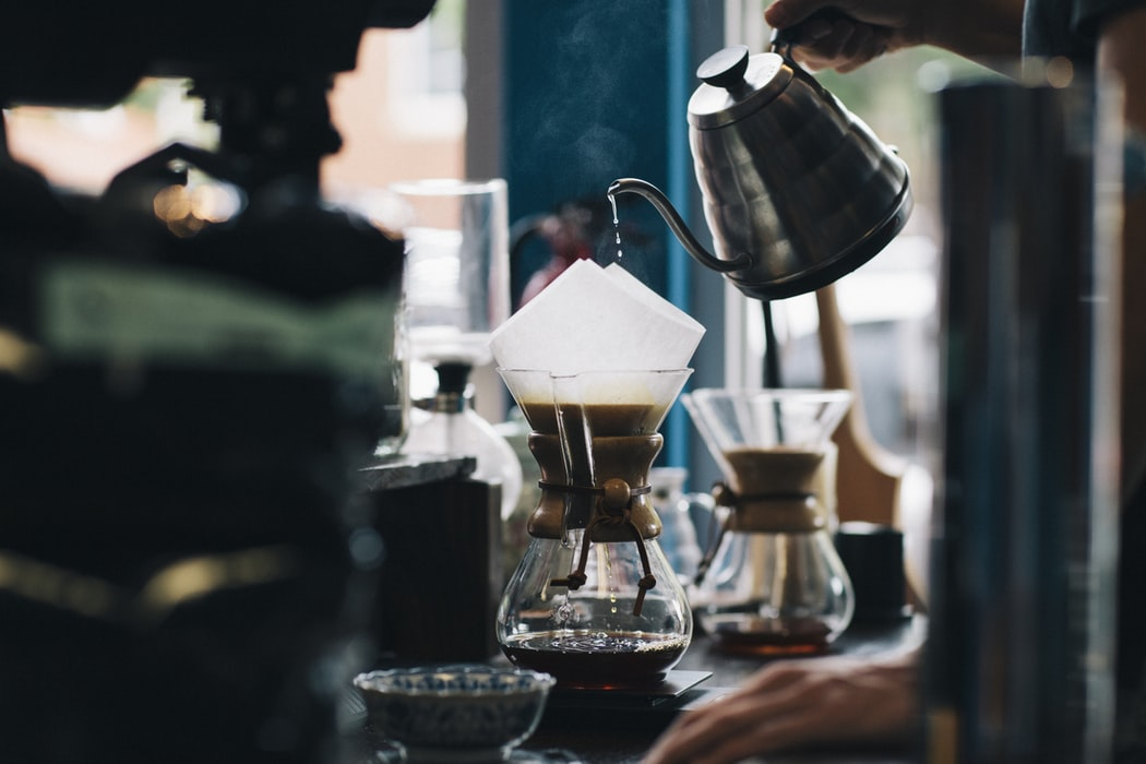 Coffee being made in a Chemex.
